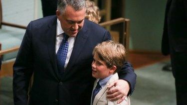 Treasurer Joe Hockey and his son Xavier Hockey in the House of Representatives on Tuesday.