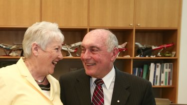 Deputy Prime Minister Warren Truss with his wife Lyn Truss in his office in Canberra on Thursday.