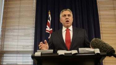 Shadow Treasurer Joe Hockey speaks to the media at Parliament House in Canberra. Photo: Alex Ellinghausen