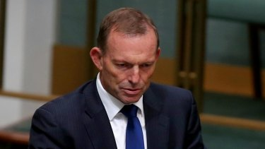 Former prime minister Tony Abbott during question time on Monday.