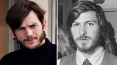 Ashton Kutcher, left, pulls off the look of a young Steve Jobs.