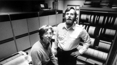 In 1981, computers the size of refrigerators and cabinets of tapes for reel-to-reel computer tape drives lined the walls in the small offices of Microsoft founders Bill Gates, left, and Paul Allen.