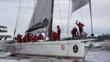 Success: Wild Oats crossing the finish line last year.
