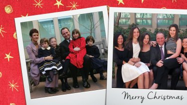 The 2015 Christmas card that Barnaby Joyce will be mailing out which shows him and his family in 1995 on a bench outside Parliament House and a re-enactment photo shot this year.