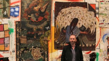 Modern man ... Wayne Tunnicliffe, the new head curator of Australian art at the Art Gallery of NSW, with Come of Things by Del Kathryn Barton.