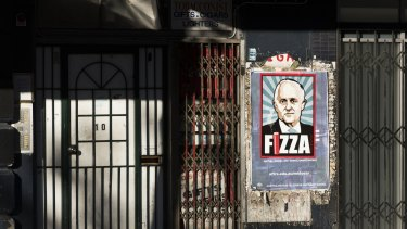 Malcolm Turnbull portrayed in a street poster by Michael Agzarian.