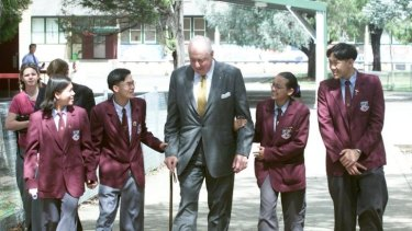 Changed a generation: Gough Whitlam after speaking at Cabramatta High School in 2001. One of his key aims  was to keep Australian children at school.  When he came to power only three of every 10 students finished secondary school; now more than eight of every 10 do.