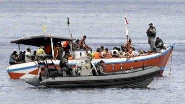 An Indonesian boatload of asylum seekers