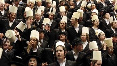 Ultra-Orthodox Jewish men at a synagogue in Israel.