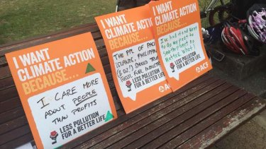 Climate change protesters voiced their concerns in Brisbane on Sunday.
