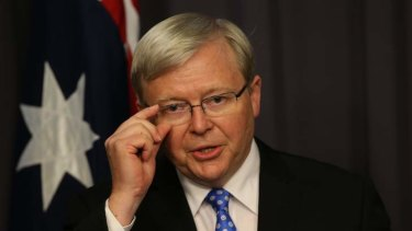 Prime Minister elect Kevin Rudd during a press conference on Wednesday night.