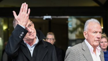 John Dunn and Terry Skippen, who were both abused by Cable, outside court on Thursday after the paedophile's sentencing.