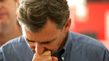 Premier John Brumby breaks down while speaking at a press conference at Kilmore.