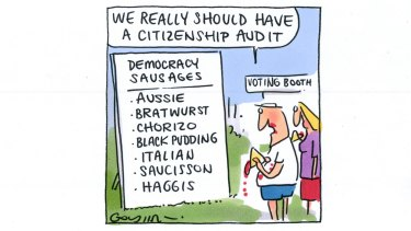 Matt Golding Man looks at a board of Democracy Sausage, international named sausages and says 'We really should have a citizenship audit'.