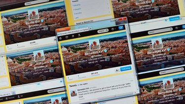 The Pope's Twitter page is decked out in yellow and white - the colours of the Vatican.