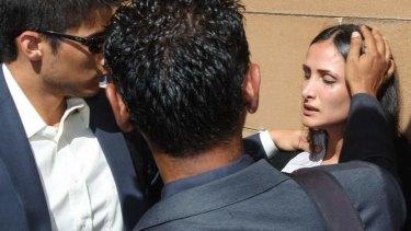 Distraught: Simon Gittany's girlfriend Rachelle Louise after the verdict.
