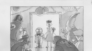 "Fairfax cartoonist John Spooner's 1998 sketch of John Howard and Pauline Hanson as ""The Debutantes""."