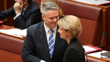 Employment minister Senator Michaelia Cash and Finance minister Senator Mathias Cormann.