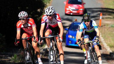 Racing: (from left) Adam Phelan, Damien Howson and Cameron Meyer in the Oceania Cycling Championships in 2013.