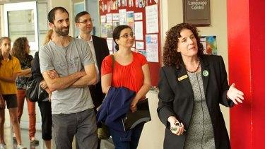 Glen Eira College principal Sheereen Kindler leads a tour of her school.
