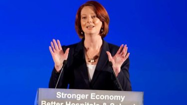 Prime Minister Julia Gillard addresses the party faithful at the Labor Party campaign launch at Brisbane Convention Centre.