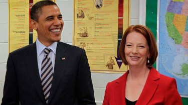 Question time ... Prime Minister Julia Gillard and US President Barack Obama were quizzed by students at a Virginia high school.