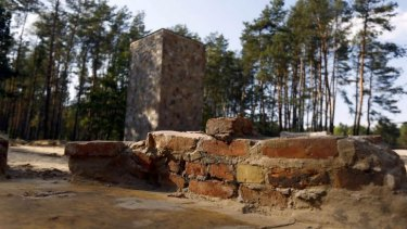 Recently uncovered bricks of a former gas chamber at the Sobibor Nazi death camp.