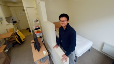 Student Kenneth in his rented apartment in Lygon Street, Carlton.