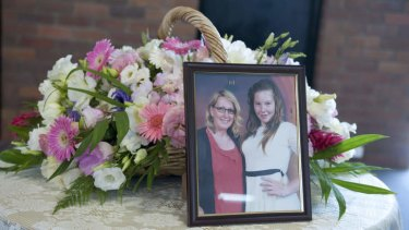 A photo of Noelene and Yvana Bischoff at a memorial for the mother and daughter who died on a holiday in Bali.