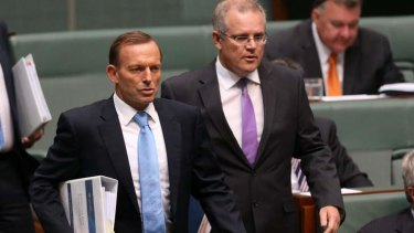 Tony Abbott and Scott Morrison face the music on Monday.