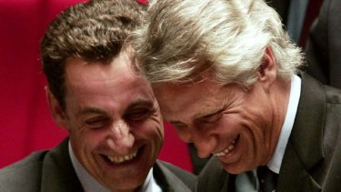 Happier times ... Nicolas Sarkozy and Dominique de Villepin at the national assembly in 2007. The pair are now at loggerheads and their enmity threatens to derail Mr Sarkozy's election campaign.