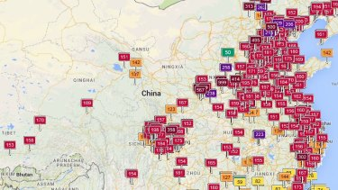 The World Air Quality map shows large red swathes of China with unhealthy air quality.