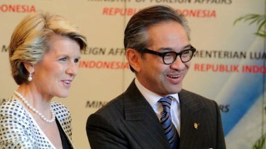 Indonesian Foreign Minister Marty Natalegawa, seen here with Julie Bishop, has told Australia's ambassador to Jakarta that using lifeboats to return asylum seekers was 'unacceptable'.