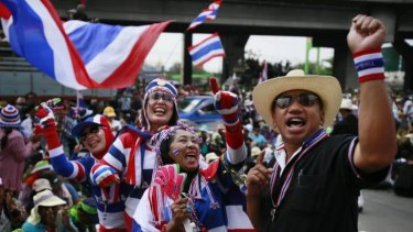 Anti-government protesters on the streets in Bangkok.