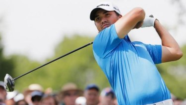 Jason Day of Australia shortly before his retirement from the BMW Championship.