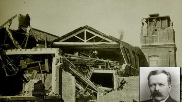 A picture taken by John Milne (inset) of the Great Earthquake of Japan in 1891.