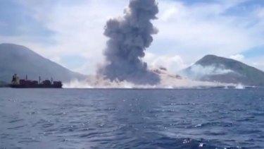 Mount Tavurvur erupting in Papua New Guinea.