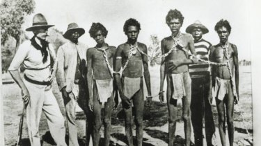 Prisoners of an undeclared war: Aborigines in shackles early last century.