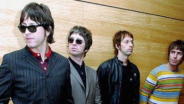Definitely not maybe ... Noel Gallagher, pictured second from left with the members of Oasis, has announced he is quitting the band after a fight with his brother Liam (far right).
