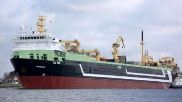 Biggest ever ... the Margiris, a giant fishing trawler that will operate in Tasmanian waters