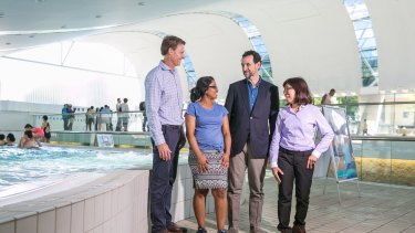 From left, Royal Life Saving's CEO Justin Scarr, Devina Nand, from Fiji, Dr David Meddings from World Health Organisation in Geneva and Thailand's Nipa Srichang visit Ian Thorpe Pool in Sydney to discuss drowning rates across the world.
