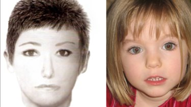 An image of the woman police want to speak to over the disappearance of Maddie McCann (right).