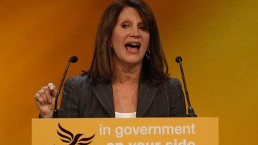 MP Lynne Featherstone speaks during the Liberal Democrats autumn conference in Birmingham.