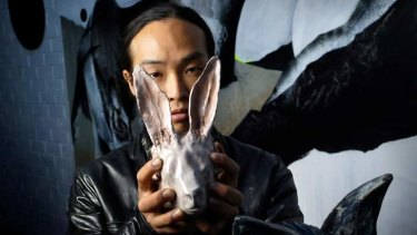 Rabbits are the latest form of the unusual and striking art of Hiroyasu Tsuri, aka TwoOne.