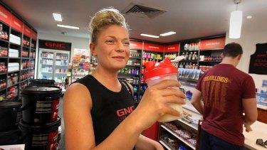On the go: Eloise Arnold has up to three protein shakes a day.