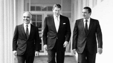 Hosni Mubarak with Ronald Reagan and King Hussein of Jordan in 1984.