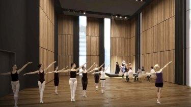 An artist's impression of the Greenland creative hub dance studio.