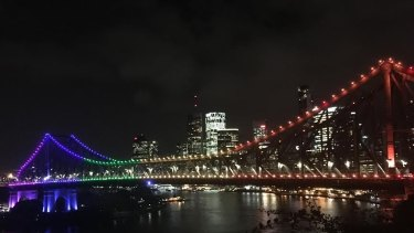 Brisbane's Story Bridge was in a rainbow hue as night fell after news of the shooting at the gay club in Orlando.