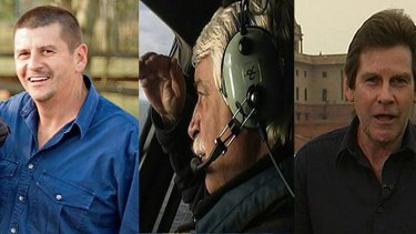 Crash tragedy ... From left, Cameraman John Bean, helicopter pilot Gary Ticehurst and journalist Paul Lockyer.