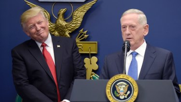 President Donald Trump with Defence Secretary Jim Mattis.